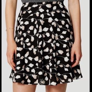 LOFT Floral Black & White Skirt